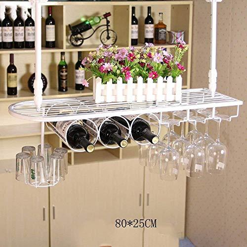 MKKM Wine Shelf Wine Rack Upside Down Multifunction Storage Rack, Suspension Iron Art Simple, Round Square Red Wine Glass Holder (Adjustable Hanging Rod Length),8025cm,White