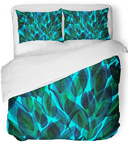 Emvency 3 Piece Duvet Cover Set Breathable Brushed Microfiber Fabric Green Leaf Blue Leaves Pattern Layering on Floral with Dark Foliage Translucent Bedding Set with 2 Pillow Covers King ()