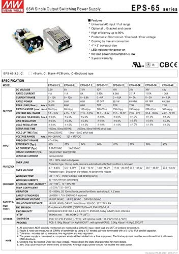 Mean Well Original EPS-65S-12 Single Output Switching Power Supply 12V 5.42A 65W