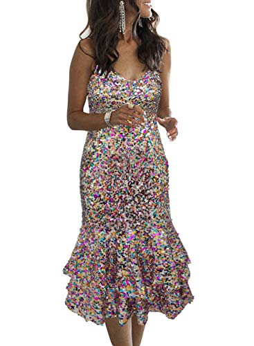 Lovezesent Womens Elegant Sequin Spaghetti Straps Ruffle Midi Evening Party Dress Wedding Party Multicolor Medium