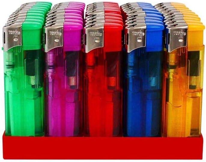 Mechero electrónico recargable con llama ajustable - Juego de 50 mecheros de colores