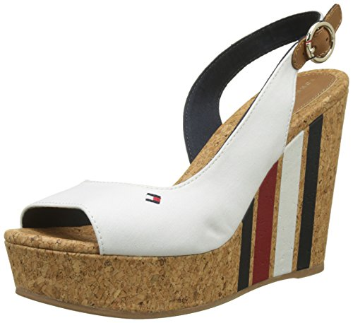 Bianco Whisper White Espadrillas Tommy with Donna Stripes Hilfiger 121 Wedge Printed 8nwxRxTF0q