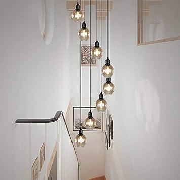 AWYL Light- Creative Retro, Stair Lounge, araña de Cristal con Doble Vidrio,