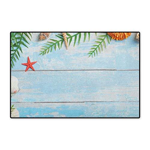 Seashells,Door Mat Increase,Star Fish Seashell Tropic Plants Leaves Seaweed Nautical Boat Marine,Floor Mat Pattern,Pale Blue Green Amber,Size,32