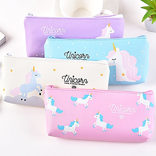 Pen Pencil Case Durable Students Stationery Multifunction PU Cosmetic Makeup Pouch Bag,Cute Unicorn Design,Set of -