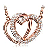 ♥925 Sterling Silver♥ J.NINA - Luxury Gift Packing - ''Guardian of Love'' Rose-Gold Plated Jewelry, Made with Swarovski Crystals, Women Heart Pendant Necklace