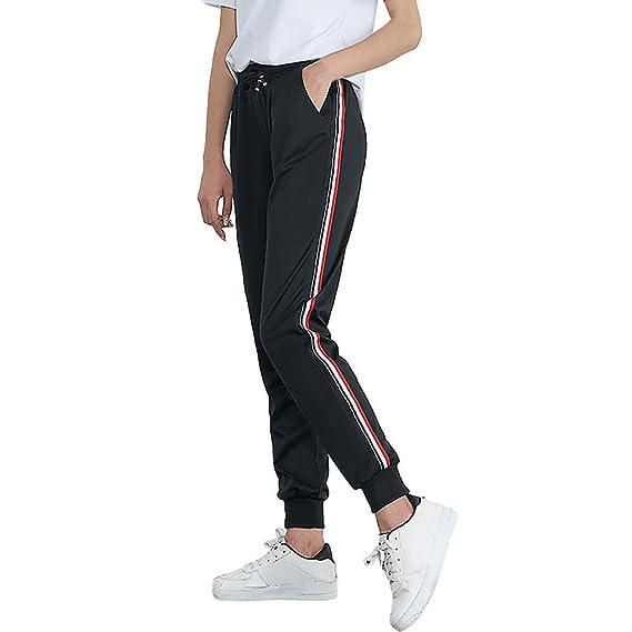 SuperSU Frauen Mid Waist Casual Striped Print Sporthosen