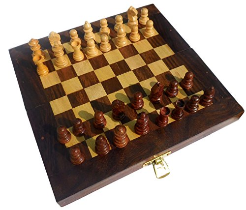 es Folding Wooden Game Wood Travel Unique Portable Gifts For Men Women Kids (Executive Travel Chess)
