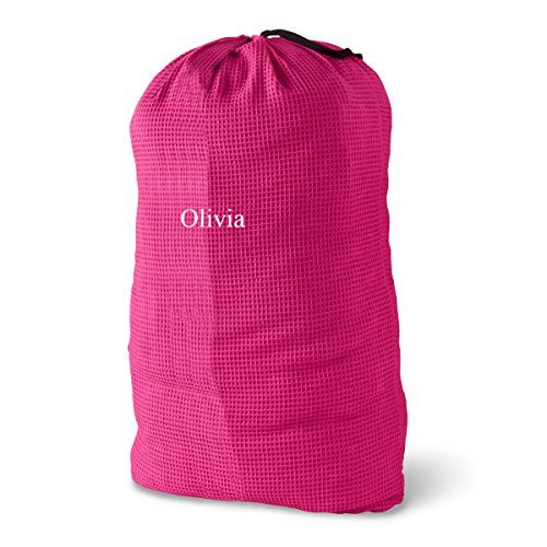 Personalized Laundry Bag - Personalized Waffle Knit Laundry Bags - Monogrammed Laundry Bags - Rasberry Laundry Bag