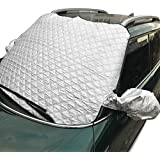 """Thickened Car Windshield Snow Ice Cover Sun Shade Protector with Side View Mirror Protector and Anti-Theft Edges, 58""""(W) X 39""""(H) Fit For Car SUV Van,  Comes with Storage Pouch and 2 Bonus Products"""