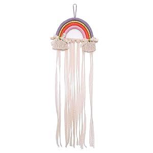 NICROLANDEE Rainbow Tassels Hair Bows Holder Hanging - Baby Hair Accessories Storage Headband Holder Hair Clips Organizer Wall Hanger Decor for Baby Girls Room Ornament (Purple Orange)