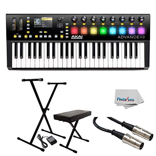 Akai Professional Advance 49-49-Key MIDI Keyboard Controller with Keyboard Stand/Bench Pak with Sustain Pedal + Cable - Clean Cloth ()