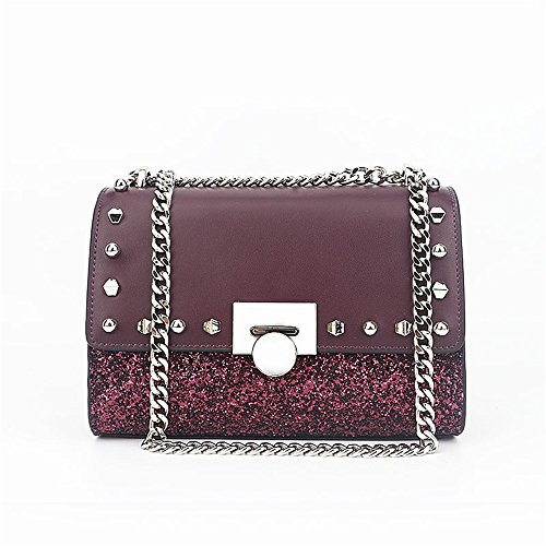 Simple Shoulder Everyday Use Asdflina For Leather Bag Square Bag Red Large Suitable Wine Retro Sequin Small Capacity Messenger w8aF4q8CE
