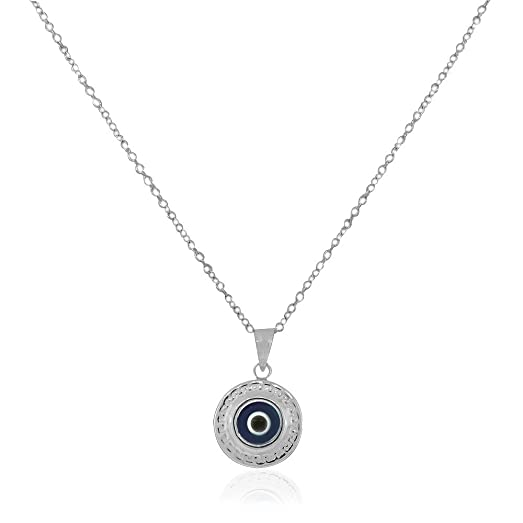 Amazon 925 sterling silver greek key dark blue glass two sided 925 sterling silver greek key dark blue glass two sided womens evil eye pendant necklace aloadofball Images