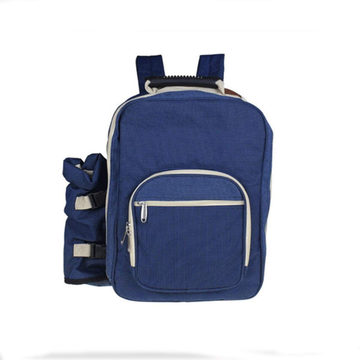 Muziwenju Picnic Bag, Four-Person Cutlery Set Insulation Backpack, Travel Sports Canvas Leisure Bag, Travel Outdoor Picnic Backpack, Blue / 20-35 Liters, Best Gift (Color : Blue)