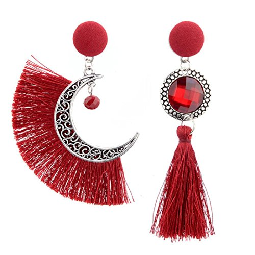 Sun Drop Costumes (Wensltd Clearance! 1 Pair Womens Girls Openwork Style Sun And Moon Crystal Tassel Dangle Stud Earrings Eardrop (Red))