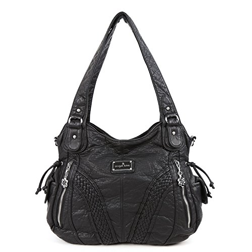 Angelkiss Women Top Handle Satchel Handbags Shoulder Bag Messenger Tote Washed Leather Purses Bag (BLACK) by Angel Kiss