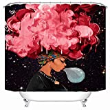 Black Pink Shower Curtain Econie African Woman with Pink Hair Shower Curtain Waterproof Polyester Blackout Draperies Window Solid Grommet with 12 Hooks for Bedroom Livingroom Bathroom,71 x 71 (9)