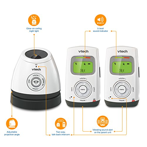 VTech DM222-2 Safe&Sound Digital Audio Baby Monitor with Temperature Sensor White/Gray