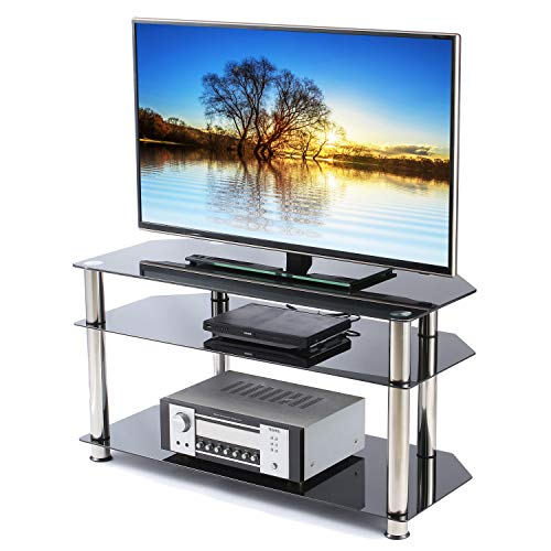 TAVR 3-Tier Glass Corner Media TV Stand Audio Rack Video Tower for up to 46 inch Flat or Curved Screen TVs and Gaming Consoles Media Component Easy Assembly, Chrome Legs Audio Rack Storage Set