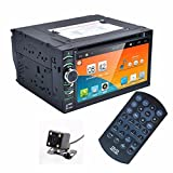 """Celendi 6.5"""" Quad Core Double Din Android 4.4.4 Touch Screen Car DVD PC Player Car Stereo In Dash GPS Navigation with Free Rear Parking Camera Support SD/USB/AUX-in/BT/WIFI/3G/MP3/MP4/GPS/DVR/SW-Control/Mirror Link"""