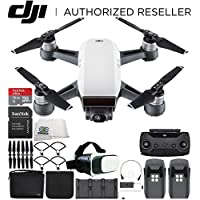 DJI Spark Portable Mini Drone Quadcopter Fly More Combo Virtual Reality Experience VR Bundle (Alpine White)