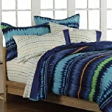 Boys Teen Retro Blue Tie Dye Stripe 5 Piece Twin Comforter Set