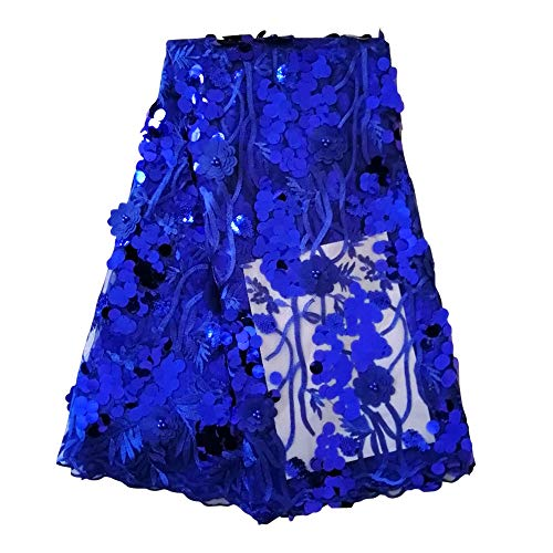 pqdaysun African Lace Fabrics 5 Yards African Sequins Lace Fabric Nigerian French Beaded Tulle Fabric for Wedding F50748 (Royal Blue, 5 - French Tulle