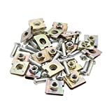 uxcell 20pcs Universal Spring Metal 5mm Car License Panel U-Clips Speed Nuts 24 x 20mm