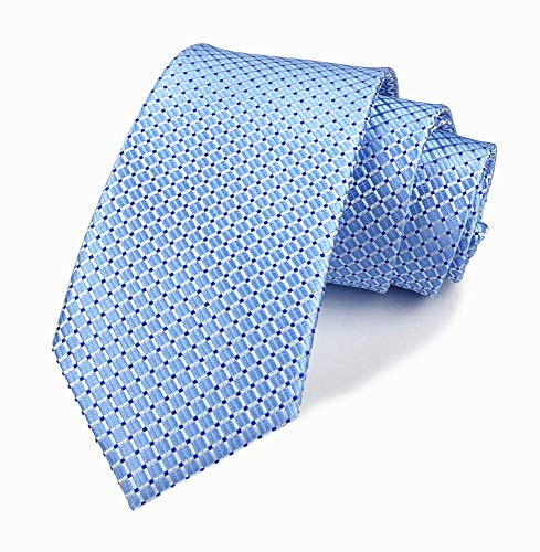 Men's Sky Blue Gingham Plaid Slik Ties Designer Business Slim Self Meeting Neckties