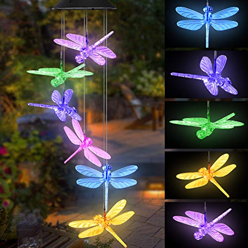 Topspeeder Color Changing Dragonfly Wind Chime Spiral Spinner Wind Mobile Portable Waterproof Outdoor Decorative Romantic Wind Bell Light For Patio Yard Garden Home Dragonfly