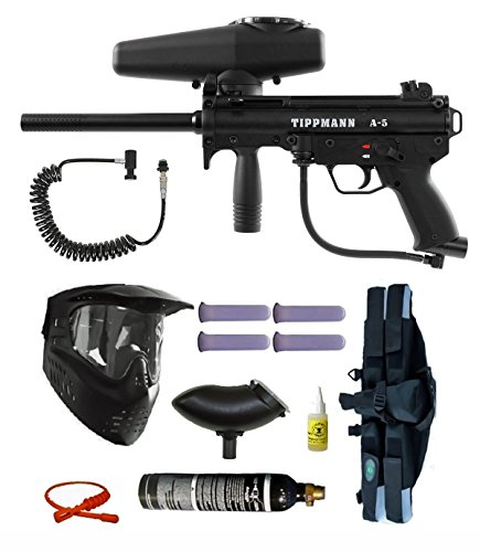 - Tippmann A-5 E-Grip Paintball Marker Gun 4+1 Remote Mega Set