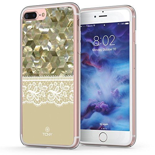 Quality Baroque Pearl (iPhone 7 Plus Case, Lace iPhone 8 Plus Case, True Color Mother of Pearl and Lace Printed on Clear Hybrid Cover Hard + Soft Slim Durable Protective Shockproof TPU Bumper - Army Green)