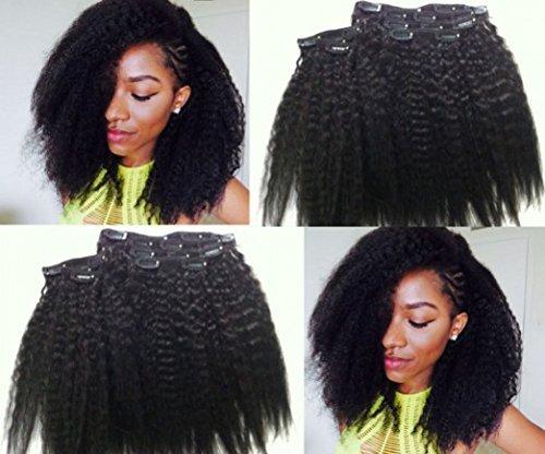 8inch Kinky Straight Clip In Hair Extensions Coarse Yaki Italian Kinky Straight Brazilian Virgin Remy Clip In Human Hair Extension Kinky Straight Clip Ins7pcs 120gram