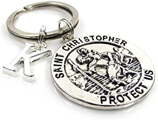 Personalised St Christopher Keyring with Initial Charm - Free Delivery GIFTS2THEDOOR KEYRING-ST-CHRISTOPHER