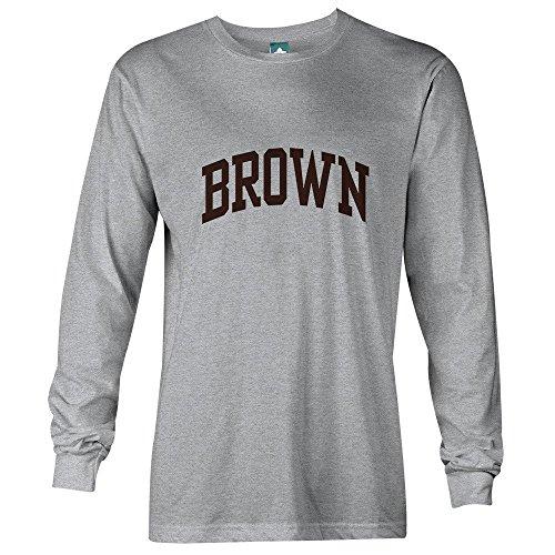 Brown University Long Sleeve T-Shirt By Ivysport - Classic Logo, 100% Cotton, Heather Grey, Long Sleeve T-Shirt, Medium