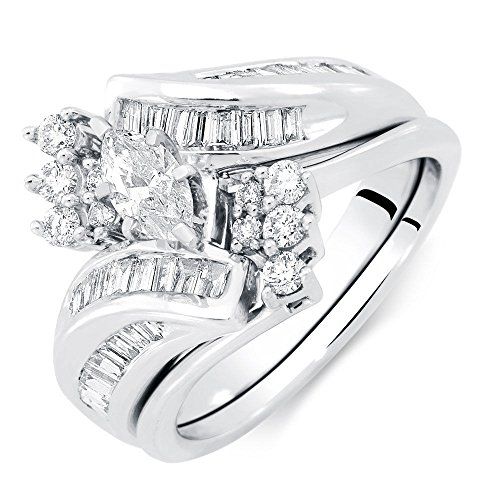 White Gold 1 Carat Marquise (Silvernshine Jewels White Gold Fn 1 Ct Marquise Baguette & Round Engagement Wedding Ring Bridal Set)
