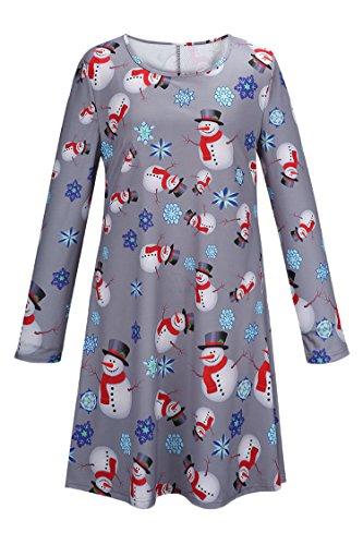 (LaSuiveur Women's Ethnic Snowman Xmas Holiday Pullover A Line Dress)