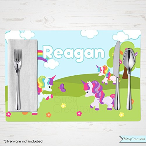 Unicorn Placemat for Children - Personalized with Child's Name - Custom Placemat by BitsyCreations