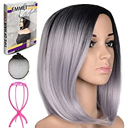"""Emmet Short Bob Wig 12"""" Shoulder Length Soft Silk Synthetic Kanekalon Dark Roots Ombre Color Women's Wigs with Free Wig Cap & Free Wig Stand Holder & Free Ebook (Gray)"""