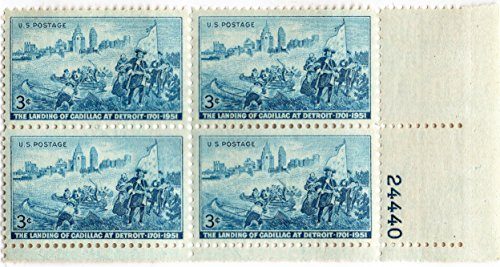 U.S. Stamp 1951 Scott 1000 Detroit Skyline And Cadillac Landing