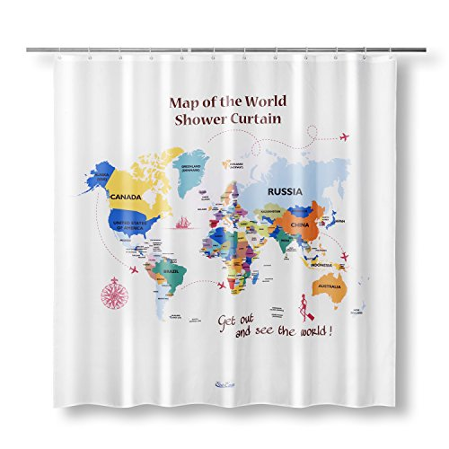 50 discount on map of the world shower curtain enaezen map of the world shower curtain enaezen educational the world map fabric shower curtains for bathroom kids students 71 x 71 inches including 12 hooks gumiabroncs Image collections