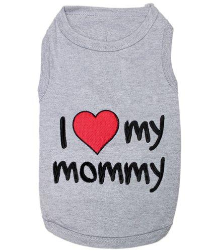Parisian Pet I Love Mommy Dog T-Shirt Medium Grey