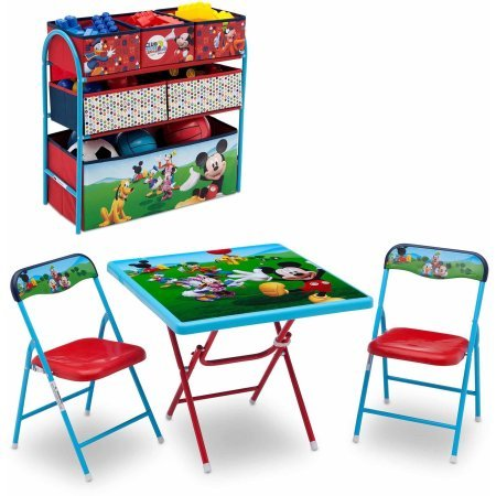 Disney Mickey Mouse Playroom Solution Set (Table & Chair Set + Metal Multi-Bin Toy Organizer)