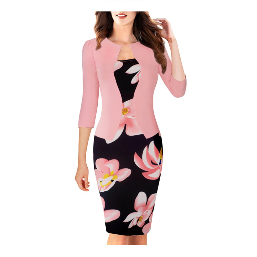 Jacket Brief Elegant Patterns Work Dress Office Bodycon Full Sleeve Sheath Dress