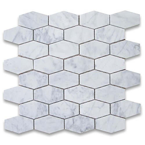 Carrara White Italian Carrera Marble Elongated Hexagon Mosaic Tile 1-1/4x3 Honed