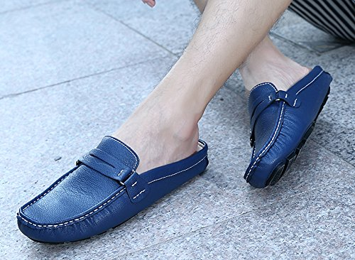 Aisun Mens Comfort Casual Round Toe Slippers Slip On Mules And Clogs Flats Slides Loafers Driving Shoes Blue 9QIdPFLA