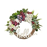 FAVOWREATH 2018 Vitality Series FAVO-W90 Handmade 14 inch Hello Letter,Hydrangea,Multi Flowers,Berry,Leaf Grapevine Wreath Summer/Fall Front Door/Wall/Fireplace Floral Hanger Home Every Day Decor
