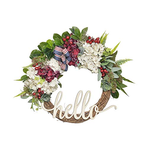FAVOWREATH 2018 Vitality Series FAVO-W90 Handmade 14 inch Hello Letter,Hydrangea,Multi Flowers,Berry,Leaf Grapevine Wreath Summer/Fall Front Door/Wall/Fireplace Floral Hanger Home Every Day Decor by FAVOWREATH