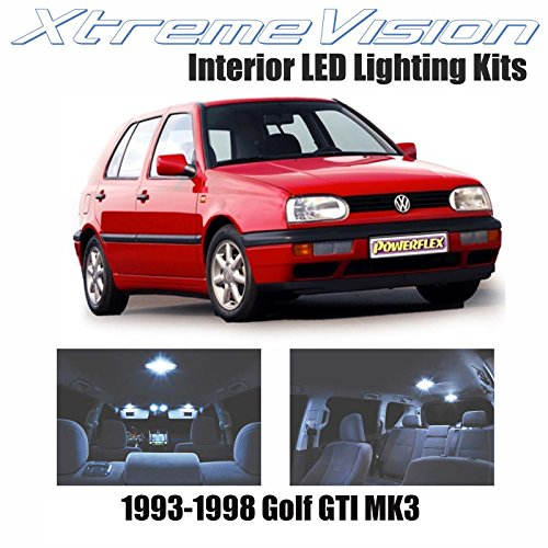 XtremeVision Volkswagen Golf GTI MK3 1993-1998 (9 Pieces) Cool White Premium Interior LED Kit Package + Installation Tool